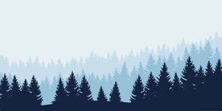 Panoramic view of landscape with blue forest. Under cloudy sky - vector Stock Image
