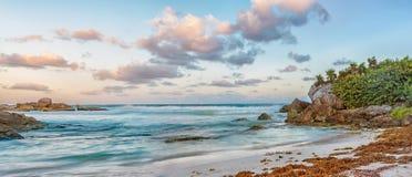 Landscape of Caribbean sea at sunrise. Panoramic view of landscape of Caribbean sea at sunrise Royalty Free Stock Image