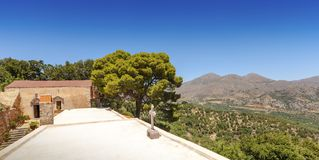 Panoramic view of the landscape from the monastery of Kremaston, Crete, Greece. Panoramic view of the landscape from the monastery of Saints Michael and Gabriel royalty free stock photo
