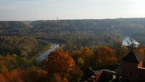 Panoramic view of the landscape of Sigulda suburbs from Turaida castle in autumn days. October in Latvia.  stock video footage