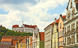 Panoramic view of Landshut, Bavarian town near Munich Stock Image
