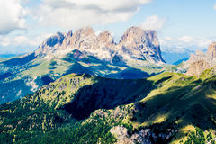 Panoramic view of the Langkofel group, a massif in the Dolomites Royalty Free Stock Image