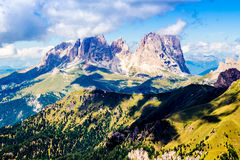 Panoramic view of the Langkofel group, a massif in the Dolomites Royalty Free Stock Photography