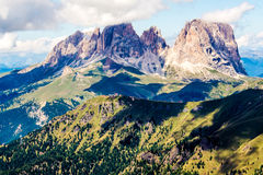 Panoramic view of the Langkofel group, a massif in the Dolomites Stock Photo