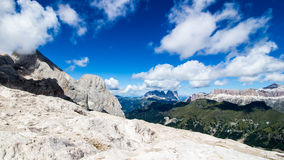 Panoramic view of the Langkofel and Sella group, massifs in the Stock Photo