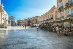 Panoramic view for a large print in a warm sunset light over Piazza del Duomo in Syracuse Stock Image