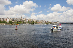 Panoramic view of large river in city Stock Photos