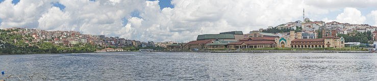 Panoramic view of large river in city Stock Photography