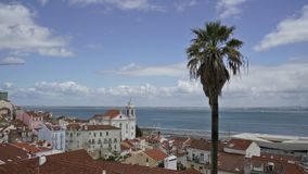 A panoramic view of Largo das Portas do Sol in Lisbon stock footage