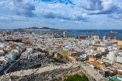 Panoramic view of Las Palmas de Gran Canaria on a cloudy day stock image