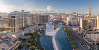 Panoramic view of Las Vegas Strip at sunset stock images