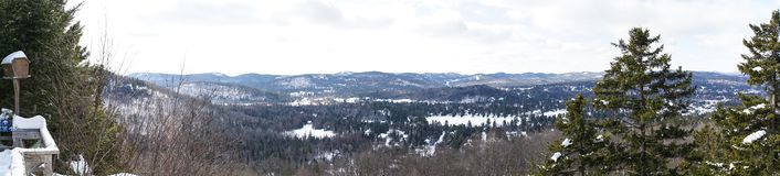 Panoramic view on Laurentides mountains at Val David stock photos