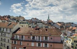 Panoramic view of Lausanne city stock photography