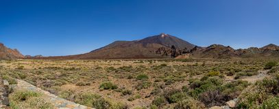 Landscapes of Tenerife. Canary Islands. Spain. Panoramic view of the lava fields of Las Canadas caldera of Teide volcano. Tenerife. Canary Islands. Spain. View stock images