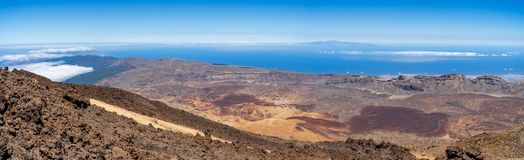 Panoramic view of the lava fields of Las Canadas caldera of Teide volcano. View of the valley from the top of the volcano. Tenerife. Canary Islands. Spain royalty free stock images