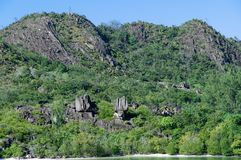 Lava stone formation, monolith, in the natural park of curieuse island, Seychelles. Panoramic view of the Lava stone formation, monolith, in the natural park of royalty free stock image