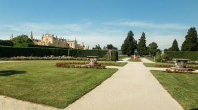 Panoramic view on Lednice Chateau on summer day, Czech Republic, Europe. Stock Photo