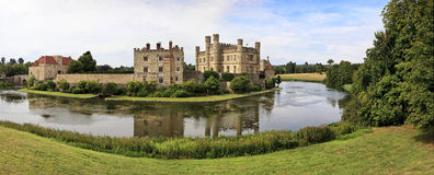 Panoramic view of Leeds Castle and moat, England, UK Royalty Free Stock Image