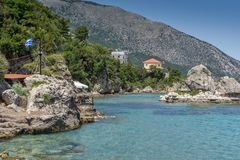 Panoramic view of Lefkes town, Kefalonia, Ionian islands, Greece. LEFKES, KEFALONIA, GREECE - MAY 26, 2015: Amazing panoramic view of Lefkes town, Kefalonia Stock Photography