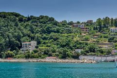 Panoramic view of Lefkes town, Kefalonia, Ionian islands, Greece. LEFKES, KEFALONIA, GREECE - MAY 26, 2015: Amazing panoramic view of Lefkes town, Kefalonia Royalty Free Stock Photography
