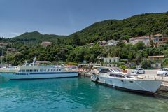 Panoramic view of Lefkes town, Kefalonia, Ionian islands, Greece. LEFKES, KEFALONIA, GREECE - MAY 26, 2015: Amazing panoramic view of Lefkes town, Kefalonia Stock Image