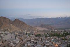 Panoramic view of Leh town of ladakh at dawn from Leh palace Stock Photos