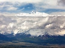 Panoramic view of Lenin Peak from Alay range Stock Photo