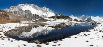 Panoramic view of Lhotse and Nuptse with lake Stock Images