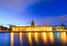 Custom House Dublin Ireland. Panoramic  view of the lighted Custom House at the capital city of Dublin in Ireland Stock Image