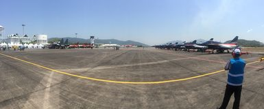 Panoramic view of LIMA airshow Stock Photography