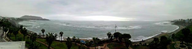 Bahía de Lima - Lima Bay. Panoramic View of Lima bay from Barranco marina Stock Image
