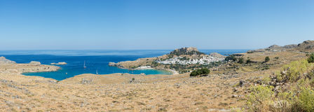 Panoramic view of Lindos bay and Acropolis, Rhodes Stock Photography