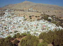 Panoramic view of Lindos, Rhodes Royalty Free Stock Photography