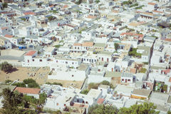 Panoramic view of Lindos, Rhodes Stock Photography