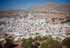 Panoramic view of Lindos, Rhodes Stock Images