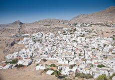 Panoramic view of Lindos, Rhodes Stock Image