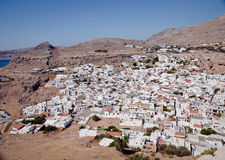 Panoramic view of Lindos, Rhodes Stock Photo