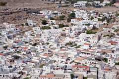 Panoramic view of Lindos, Rhodes Royalty Free Stock Photos