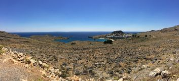 Panoramic view of Lindos, Rhodes royalty free stock image