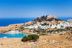 Panoramic view of Lindos town, bay and Acropolis Stock Images