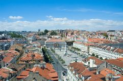 Panoramic view of lisbon royalty free stock photos