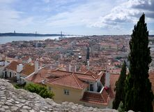 Panoramic view of Lisbon. - Bridge over the River Tagus Royalty Free Stock Photo