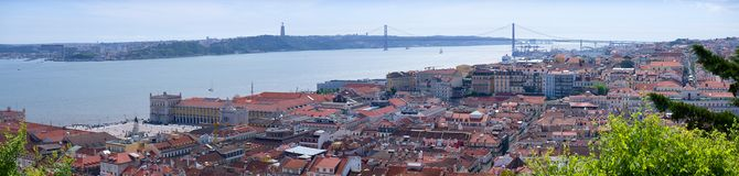 Panoramic view of Lisbon. - Bridge over the River Tagus Stock Photo