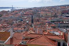 Panoramic view of Lisbon. - Bridge over the River Tagus Stock Image