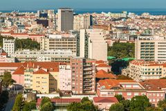 Panoramic view of Lisbon colorful rooftop from Amoreiras viewpoint. Lisbon, Portugal - August 24, 2017 Panoramic View Towards Nations Park Stock Photography
