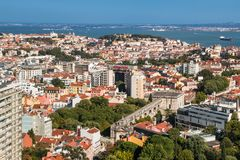 Panoramic view of Lisbon colorful rooftop from Amoreiras viewpoint. Lisbon, Portugal - August 24, 2017  Panoramic View Towards Sao Jorge Castle Stock Photo