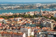 Panoramic view of Lisbon colorful rooftop from Amoreiras viewpoint. Lisbon  Panoramic View Towards River Tagus Stock Photo