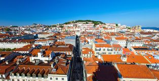 Panoramic View of Lisbon Lisboa orange roofs and Castle, Portuga royalty free stock images