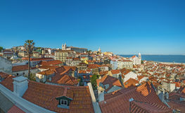 Panoramic view of lisbon old town in Portugal Royalty Free Stock Photo