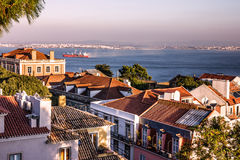 Panoramic view of Lisbon, Portugal. Tagus River Panorama Stock Photos